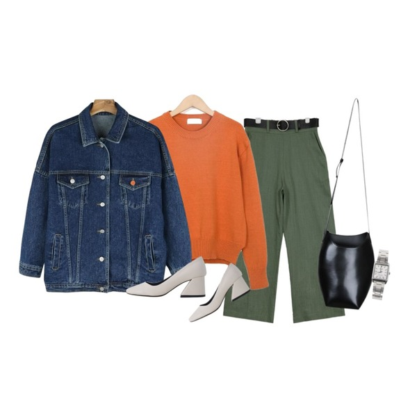 AIN belt set linen slacks (3 colors),From Beginning Hide color round knit_S (size : free),daily monday Casual boxy denim jacket등을 매치한 코디