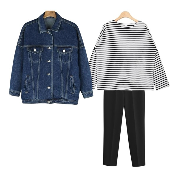 TODAY ME [slacks]켈리 슬렉스,AIN casual stripe boxy fit T (2 colors),daily monday Casual boxy denim jacket등을 매치한 코디