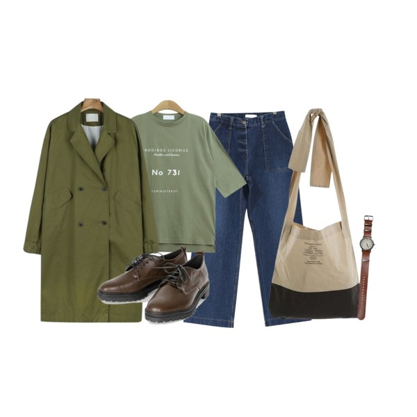 TODAY ME 페이든 티,PSYCHOSHOP 트윈포켓 팬츠(2colors),daily monday Casual sleeve point trench coat등을 매치한 코디