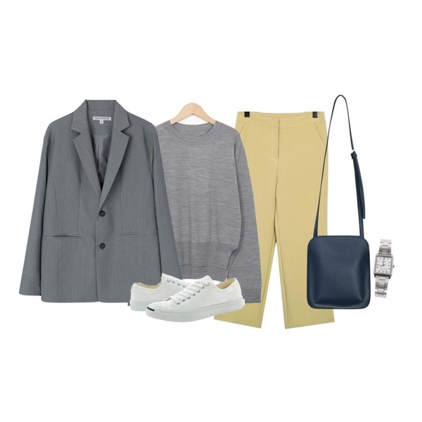 MIXXMIX 컬쳐 오버 자켓,From Beginning Pastel crop formal slacks_K(size : S,M),From Beginning Found long sleeve knit_S (size : free)등을 매치한 코디