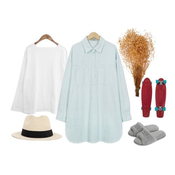 From Beginning Holly basic panama hat_B (size : one),common unique [TOP] SQUARE NECK WIDE SLEEVE T,From Beginning Made_ops-085_denim mini ops (size : free)등을 매치한 코디