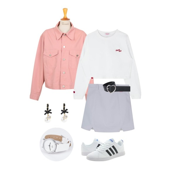 From Beginning Made_outer-052_simple cotton jacket_B (size : free),MIXXMIX Heart Three Point Top,MIXXMIX Heart Point Cotton Skirt등을 매치한 코디