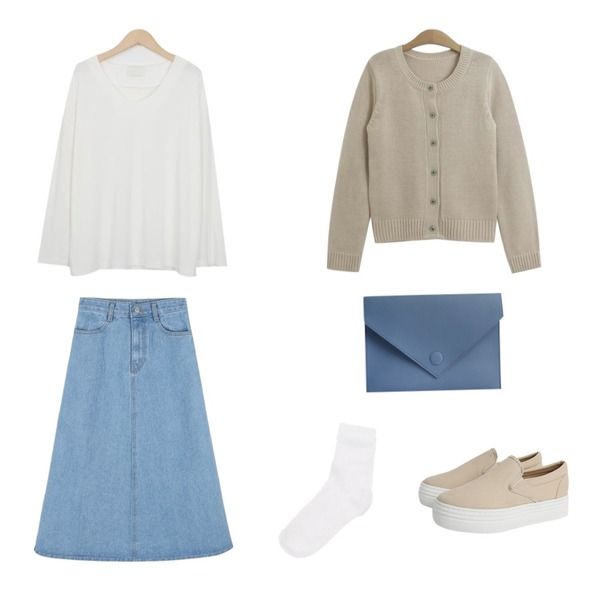 From Beginning Sonata smooth silket T_K(size : free),TODAY ME 로젠 가디건,daily monday Basic a-line denim skirt등을 매치한 코디