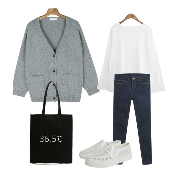 daily monday Two pocket Side slit wool cardigan,common unique [TOP] SQUARE NECK WIDE SLEEVE T,TODAY ME 킨스 스키니진등을 매치한 코디