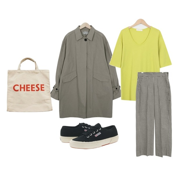 From Beginning Made_outer-075_balloon half trench coat (size : free),common unique [BOTTOM] COTTON MINIMAL CHECK SLACKS ,From Beginning Neon loose modal T_H (size : free)등을 매치한 코디