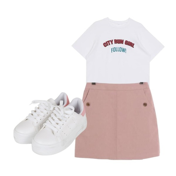 BULLANG GIRL 뒷굽컬러운동화,biznshoe Follow tee (3color),ROCOSIX basic mini skirt등을 매치한 코디