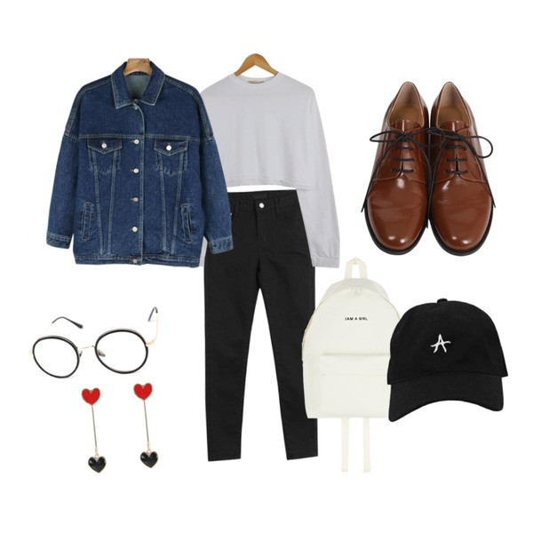 LOOK CHIC cotton skinny pants,daily monday Casual boxy denim jacket,LOOK CHIC box crop tee (3 color)등을 매치한 코디