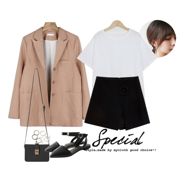 daily monday Long triangle earring,From Beginning Light cotton basic T_H (size : free),daily monday Standard cotton jacket등을 매치한 코디
