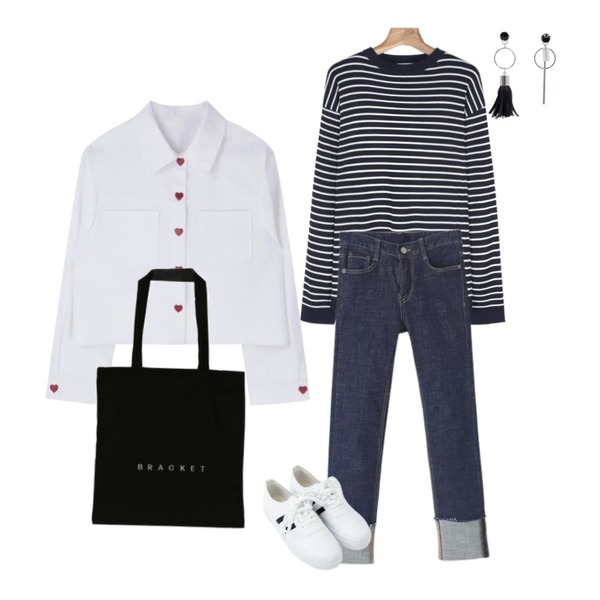 MIXXMIX Heart Point Cotton Jacket,Reine 글램 롤업 스트레이트 데님 팬츠,daily monday Stripe round neck unisex knit등을 매치한 코디