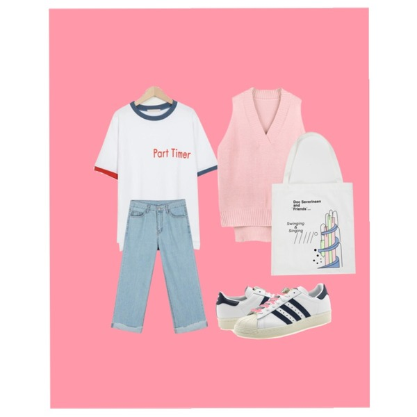Pink,From Beginning Part time cotton T_M (size : free),daily monday Basic clean fit denim등을 매치한 코디