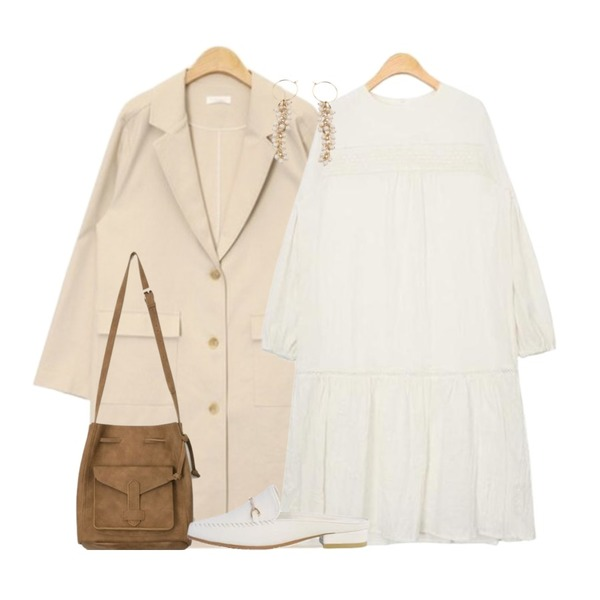 AIN soft color lucky bag (3 colors),AIN spring modern single coat (2 colors),AIN pure crease long ops등을 매치한 코디