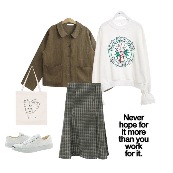 TWEE Flamingo print mtm tee,TODAY ME 로에 자켓,daily monday Wrap button check skirt등을 매치한 코디