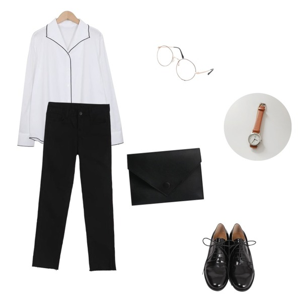 MIND ME 미니 버튼 클러치 (4color),TWEE Natural cutting basic pants,From Beginning Bound piping collar blouse_H (size : free)등을 매치한 코디