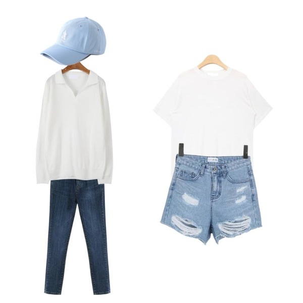 ROCOSIX side slit skinny jeans,MINIBBONG 메이비 카라니트,AIN out stitch silky touch T (4 colors)등을 매치한 코디