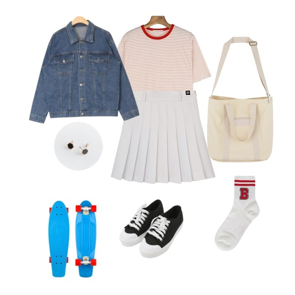 MIXXMIX HIDE Beltring Tennis Skirt Pants,MINIBBONG 윌슨 운동화,daily monday Coloring neck stripe tee등을 매치한 코디