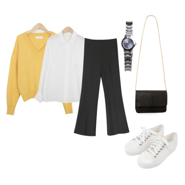 From Beginning Cozy V angora color knit_K(size : free) ,MINIBBONG 윌슨 운동화,From Beginning Bubble pocket blouse_K(size : free)등을 매치한 코디