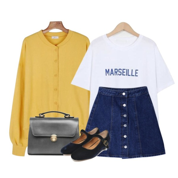 DORA 엠엔단추데님SK,From Beginning Marseille color T_S (size : free),daily monday Daily bagel cardigan등을 매치한 코디