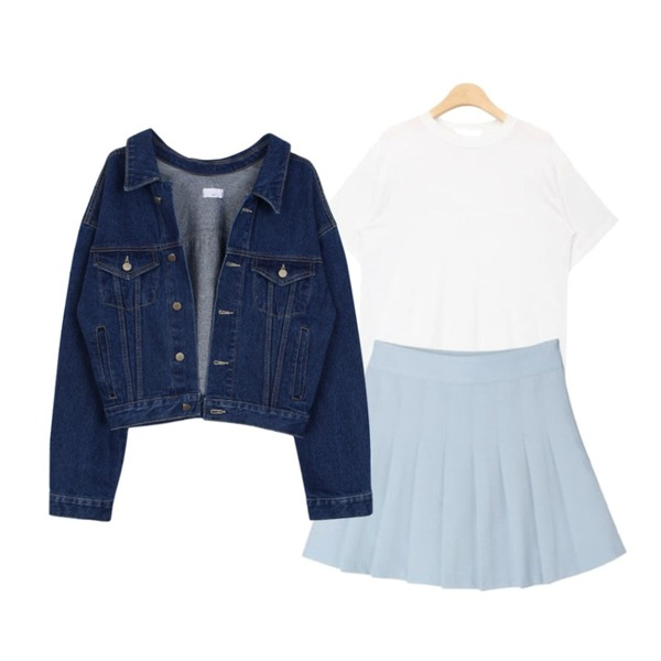 biznshoe Denim short jacket,DORA 로코테니스P,AIN out stitch silky touch T (4 colors)등을 매치한 코디