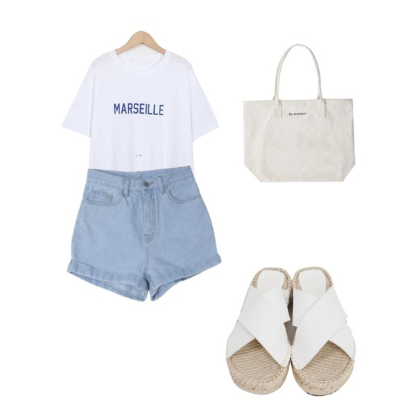 From Beginning X-cover espadrille slipper_B (size : 225,230,235,240,245,250),DORA 오버롤업PT,From Beginning Marseille color T_S (size : free)등을 매치한 코디