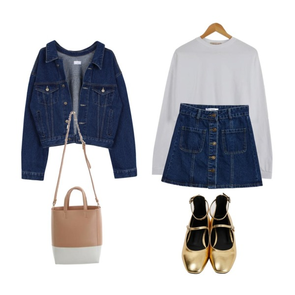 biznshoe Denim short jacket,TWEE Poket denim skirt,LOOK CHIC box crop tee (3 color)등을 매치한 코디