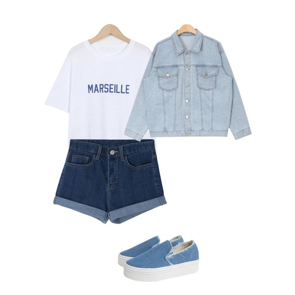 MIXXMIX 520 슬림 롤업 팬츠,AIN daily standard denim jacket (3 colors),From Beginning Marseille color T_S (size : free)등을 매치한 코디