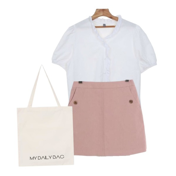 Zemma World Ella-블라우스,biznshoe Daily eco bag (2color),ROCOSIX basic mini skirt등을 매치한 코디