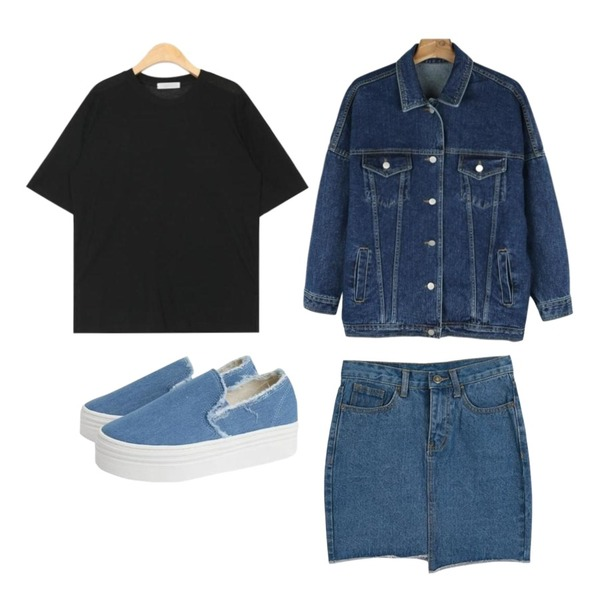daily monday Casual boxy denim jacket,AIN boxy fit tencel 1/2 T (4 colors),LOOK CHIC unbalance denim skirts (2 color)등을 매치한 코디