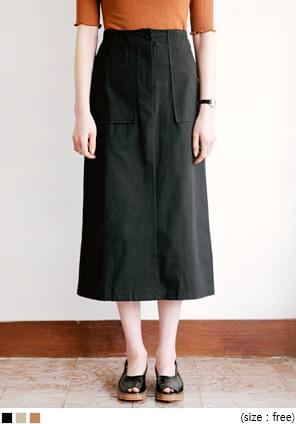 BIG POCKET COTTON LONG SKIRT