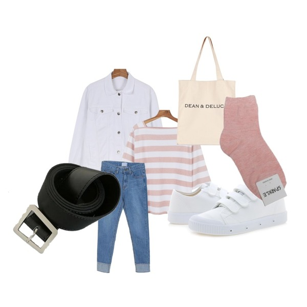 daily monday Casual washing jacket,daily monday Daily pigment stripe square neck tee,Zemma World Town-데님롤업팬츠등을 매치한 코디