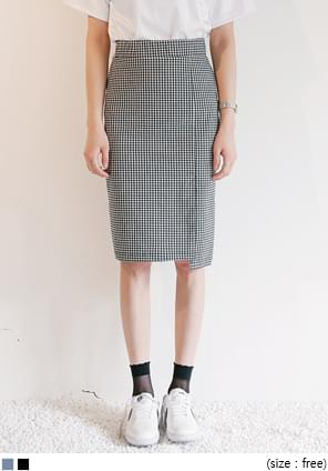 UNBAL BANDING CHECK SKIRT