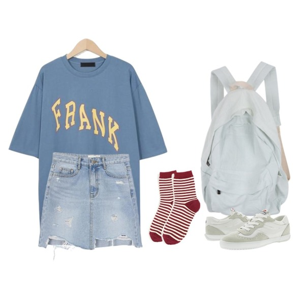 MIXXMIX 파스텔 데일리 백팩,biznshoe Cut off denim skirt,From Beginning Frank vintage cotton T_H (size : free)등을 매치한 코디