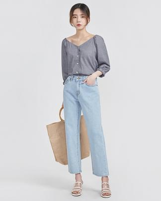 check banding off-shoulder blouse (2 colors)