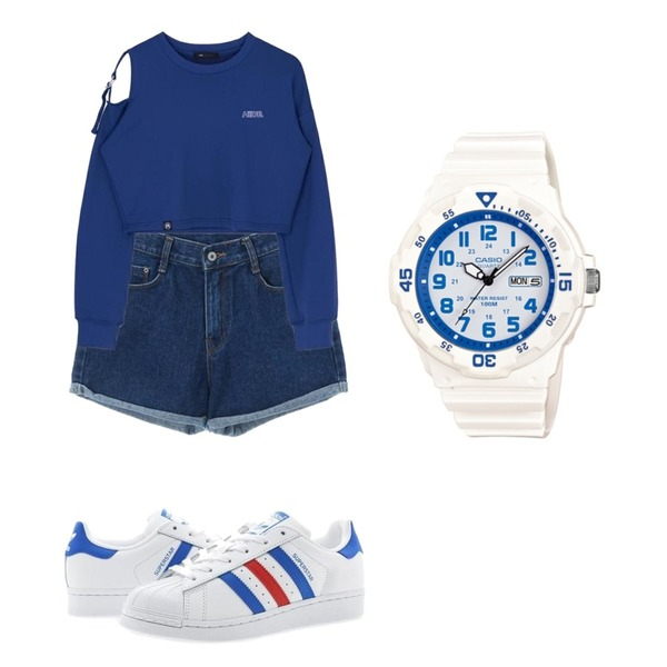 MIXXMIX HIDE Strap Ring Shoulder T-shirt,Player 아디다스 슈퍼스타 화이트블루레드 (ADIDAS SUPERSTAR),ROCOSIX dio short pants등을 매치한 코디