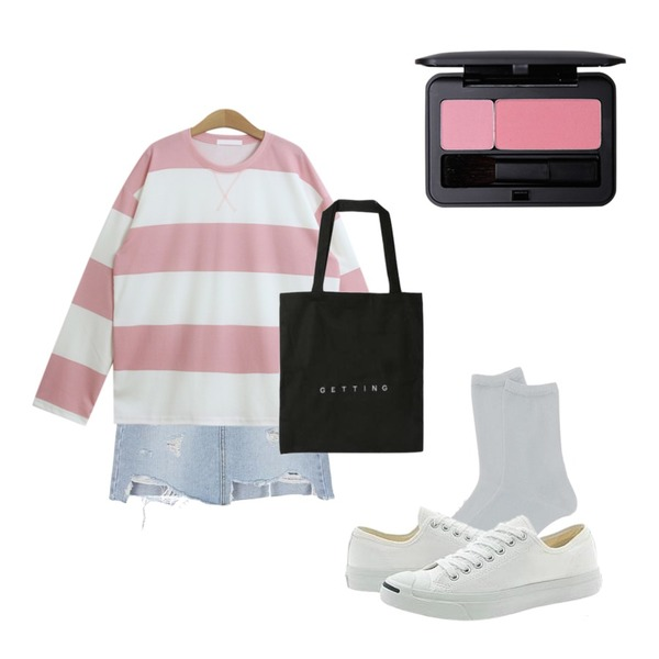 Player 컨버스 잭퍼셀 LTT 화이트 (CONVERSE JACK PURCELL LTT WHT),daily monday Glitter basic socks,biznshoe Cut off denim skirt등을 매치한 코디