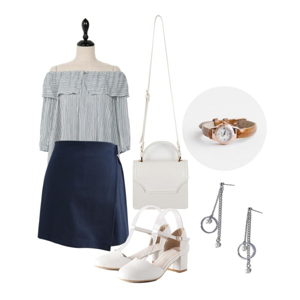 From Beginning Bloom mini tote bag_K(size : one),UPTOWN HOLIC 레비스 bl (*2color),common unique [SKIRT] BUCKLE WRAP BANDING SKIRT - 2 TYPE 등을 매치한 코디
