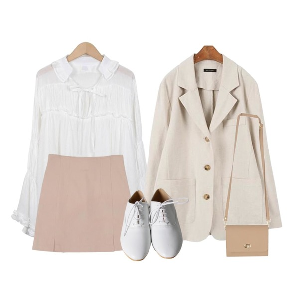 MINIBBONG [MINI.L] 마레 린넨자켓,From Beginning Mono cancan frill blouse_S (size : free),MESMIN 센트 슬릿 sk (3color)등을 매치한 코디