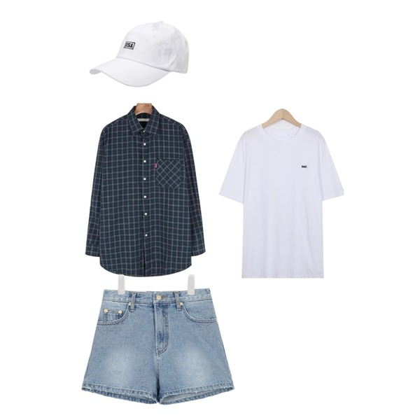 DORA USA캡,daily monday Casual unisex check shirt,From Beginning May work round T_K(size : free) 등을 매치한 코디
