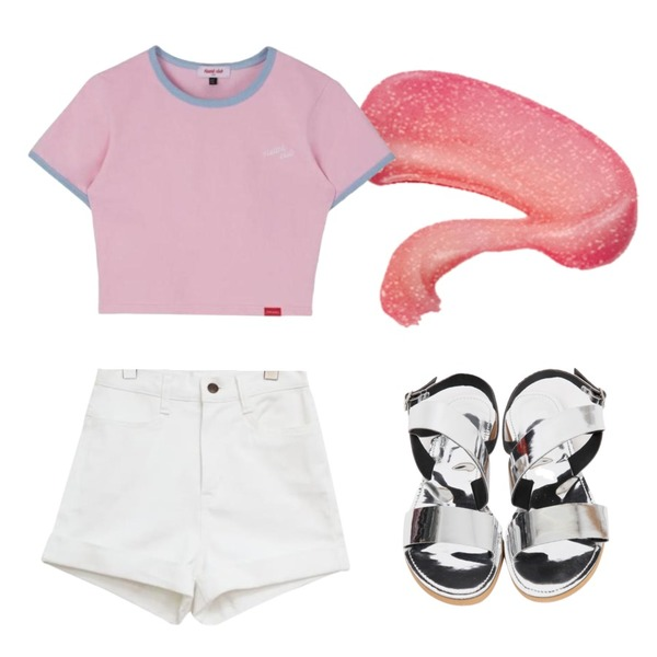 wing,common unique [BOTTOM] COTTON ROLL UP HIGH SHORTS,MIXXMIX Heart Ringer Crop Top등을 매치한 코디