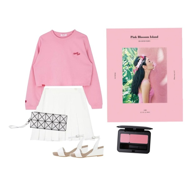AIN Pink Blossom Island+The way to the North,MIXXMIX Heart Three Point Top,AIN girlish pleats pants skirt (3 colors)등을 매치한 코디