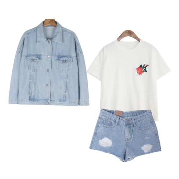 common unique [TOP] ROSE EMBROIDERY 1/2 T,daily monday Casual light denim jacket,DORA 헤짐숏팬츠등을 매치한 코디