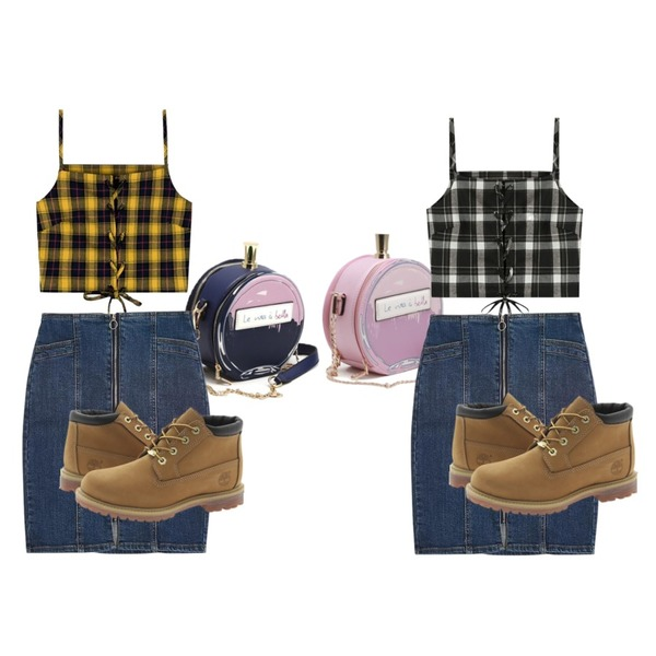 LOVELY SHOES 시티뷰 크로스 백,LOVELY SHOES 시티뷰 크로스 백,MIXXMIX Check String bustier  (Yellow)등을 매치한 코디