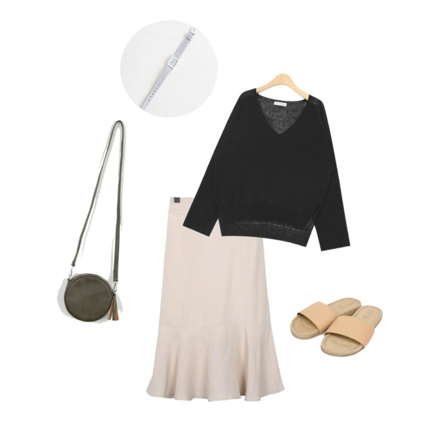 AIN deep V-neck long sleeve knit (3 colors),AIN simple straw slipper (6 colors),From Beginning Lime linen mermaid skirt_S (size : free)등을 매치한 코디
