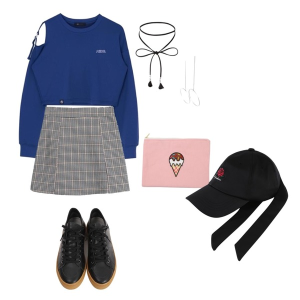 LOOK CHIC cel check skirts,MIXXMIX HIDE Strap Ring Shoulder T-shirt,From Beginning Land rubber sneakers_H (size : 225,230,235,240,245,250)등을 매치한 코디