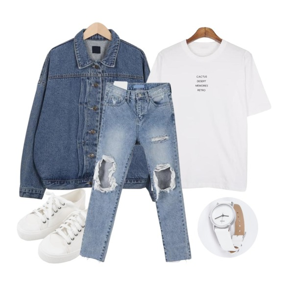 MINIBBONG 윌슨 운동화,From Beginning Usual boy denim jacket_B (size : free),MESMIN 레트로 프린트 t (2color)등을 매치한 코디
