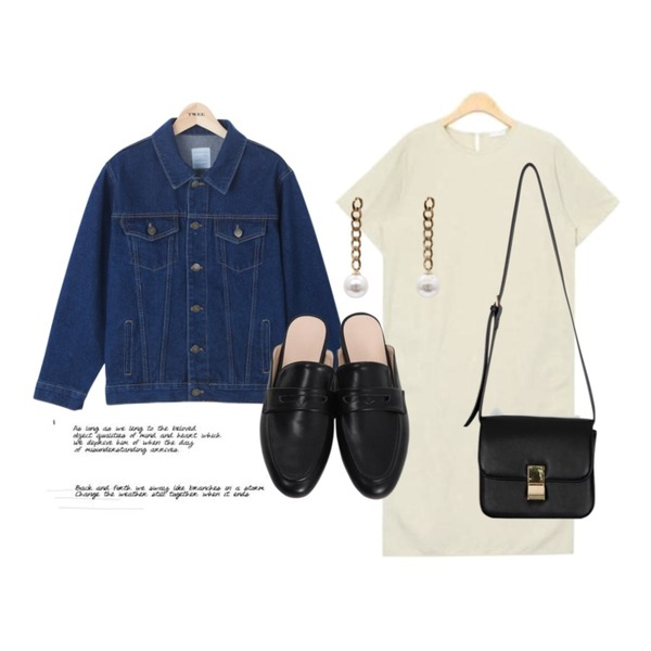 TWEE Boy fit denim jacket,From Beginning Lauren buckle classic bag_K(size : one) ,AIN modest linen long ops (3 colors)등을 매치한 코디