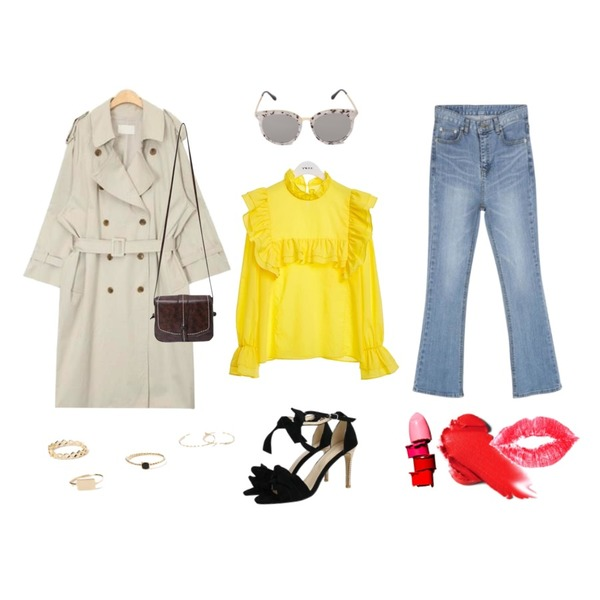 AIN like over trench coat (2 colors),CHLO.D.MANON 완벽핏 반하이웨스트 부츠컷,TWEE Yellow frill blouse등을 매치한 코디