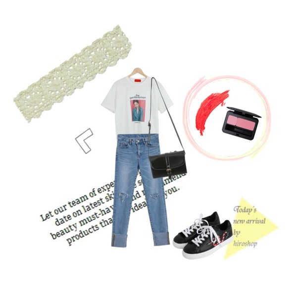 Untitled,Untitled,LOOK CHIC gentle woman tee (3 color)등을 매치한 코디