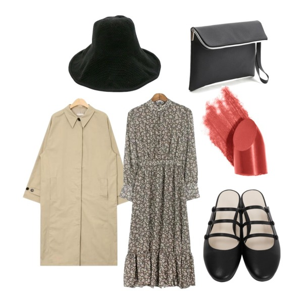 daily monday Cotton wide visor bucket hat,AIN light simple single trench coat (2 colors),MESMIN 콜린 플라워 ops (2colors)등을 매치한 코디