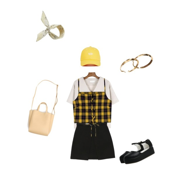 MIXXMIX Check String bustier  (Yellow),daily monday Winter v-neck tee,IM3 크라운 벨트스커트등을 매치한 코디