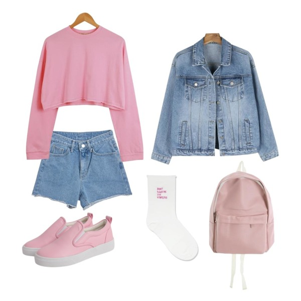 TWEE Cutting denim short pants,daily monday Color cotton daily jacket,LOOK CHIC box crop tee (3 color)등을 매치한 코디